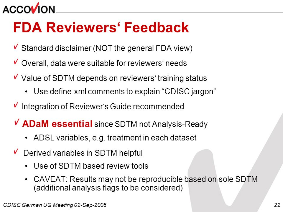 FDA Reviewers' Feedback