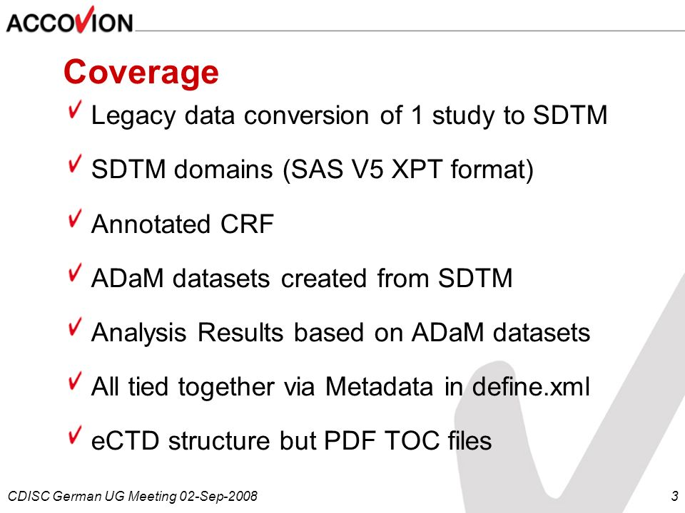 Coverage Legacy data conversion of 1 study to SDTM