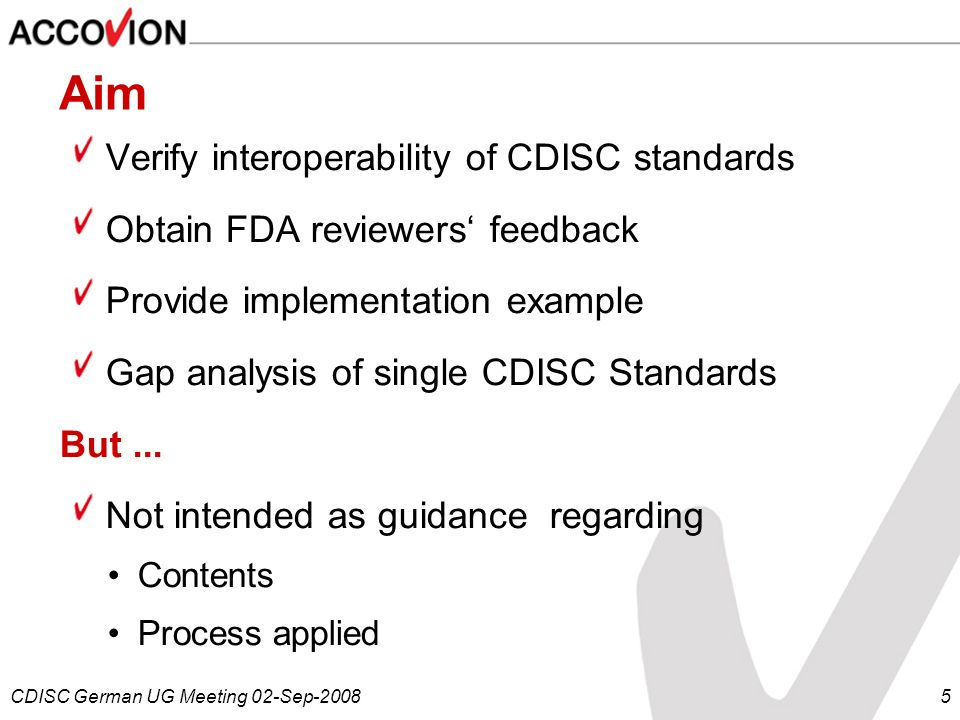 Aim Verify interoperability of CDISC standards