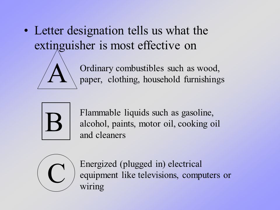 The numbers tell us how large an area the extinguisher is most effective on.