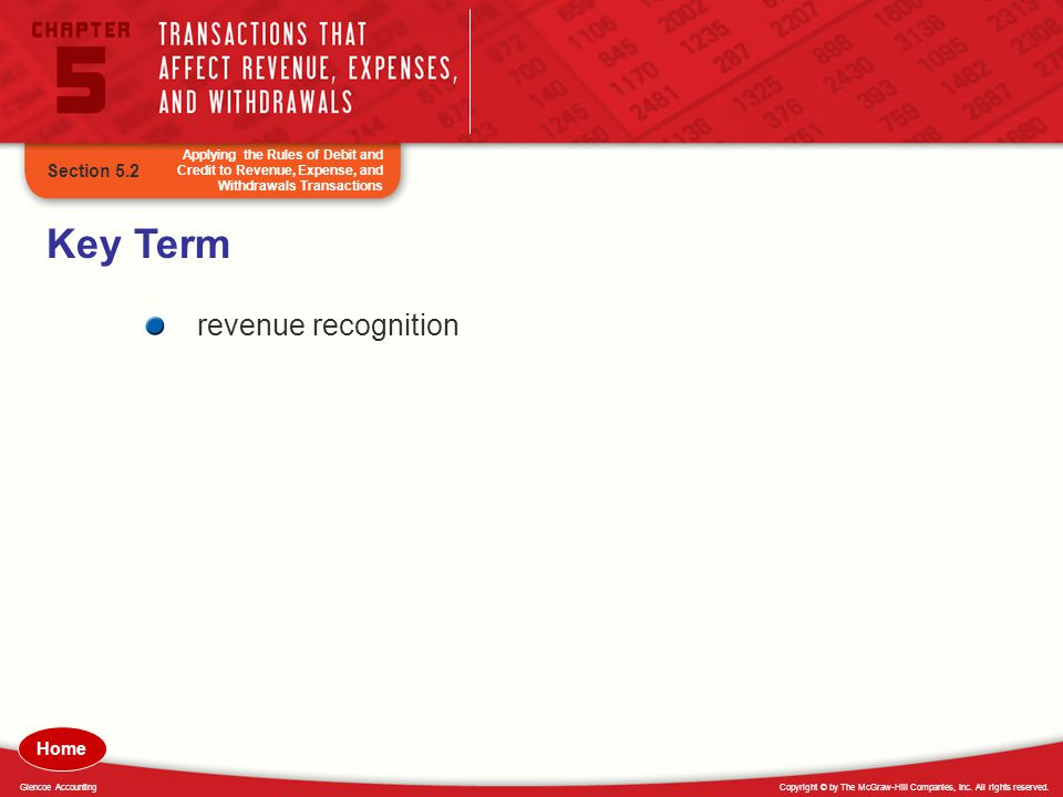 Key Term revenue recognition Section 5.2 Home