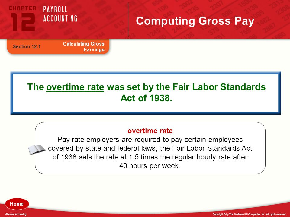 The overtime rate was set by the Fair Labor Standards Act of 1938.
