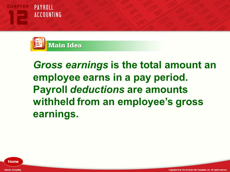 Gross earnings is the total amount an employee earns in a pay period