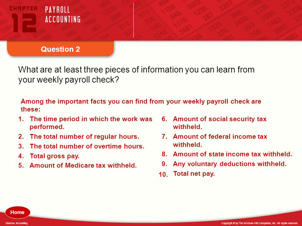 Question 2 What are at least three pieces of information you can learn from your weekly payroll check
