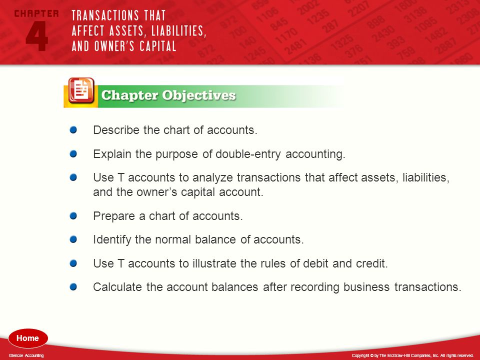 Describe the chart of accounts.