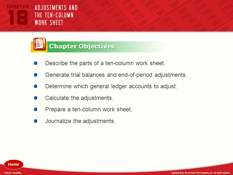 Describe the parts of a ten-column work sheet.
