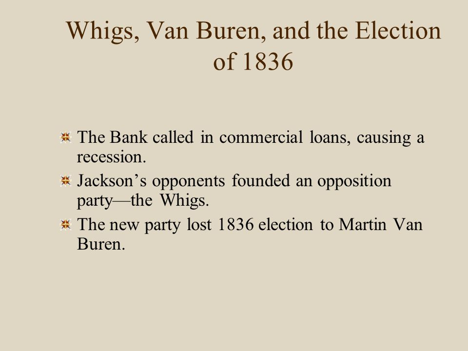 Whigs, Van Buren, and the Election of 1836