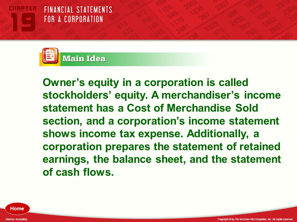 Owner's equity in a corporation is called stockholders' equity