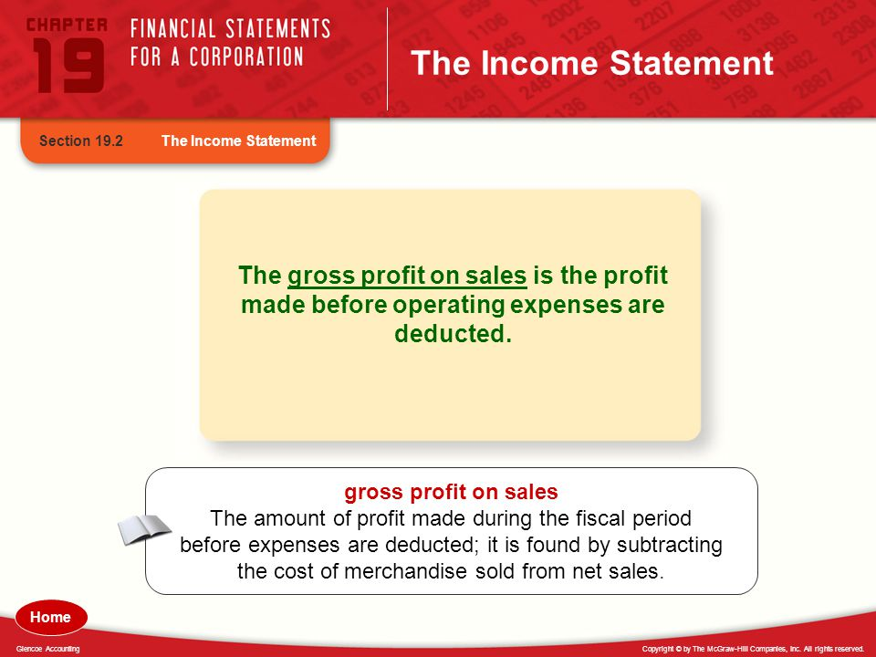 The Income Statement Section 19.2. The Income Statement. The gross profit on sales is the profit made before operating expenses are deducted.