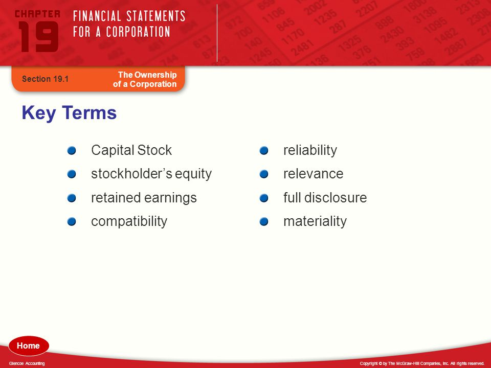Key Terms Capital Stock stockholder's equity retained earnings