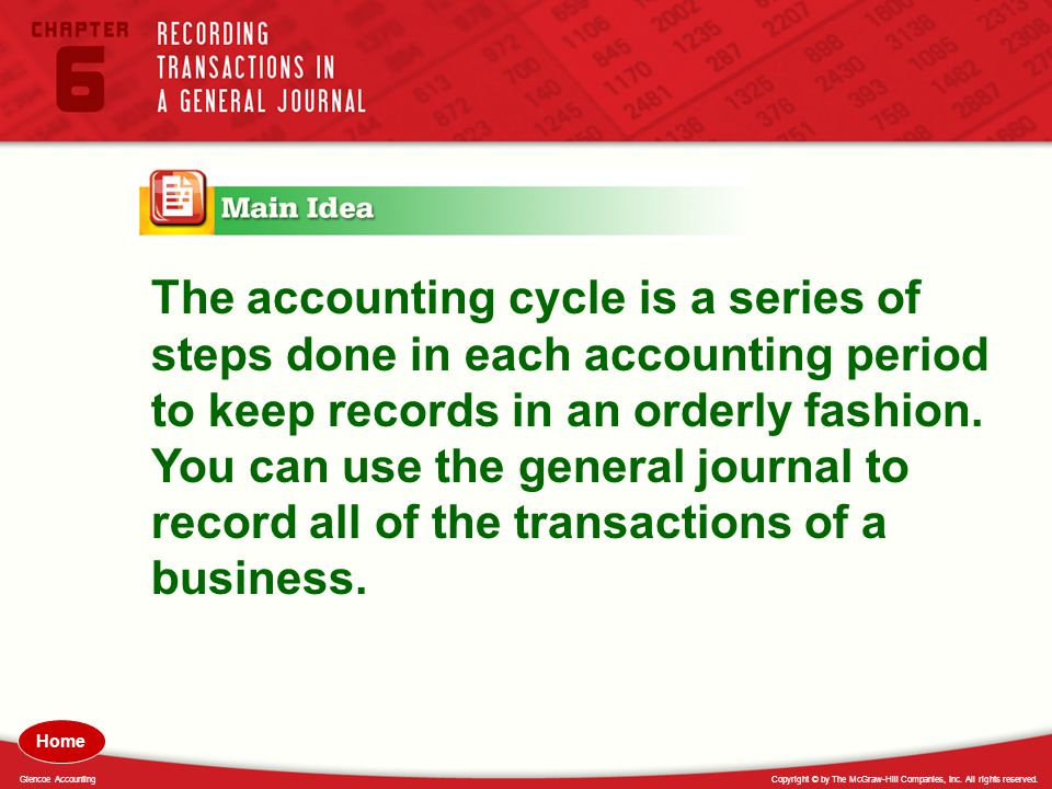 The accounting cycle is a series of steps done in each accounting period to keep records in an orderly fashion. You can use the general journal to record all of the transactions of a business.