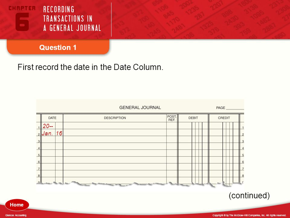 First record the date in the Date Column.