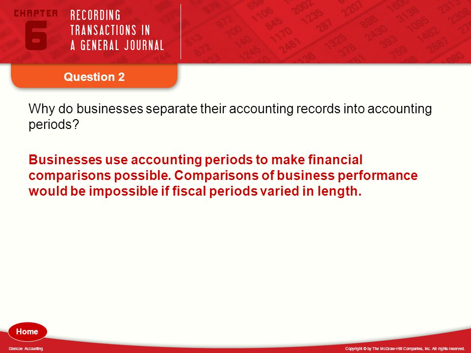 Question 2 Why do businesses separate their accounting records into accounting periods