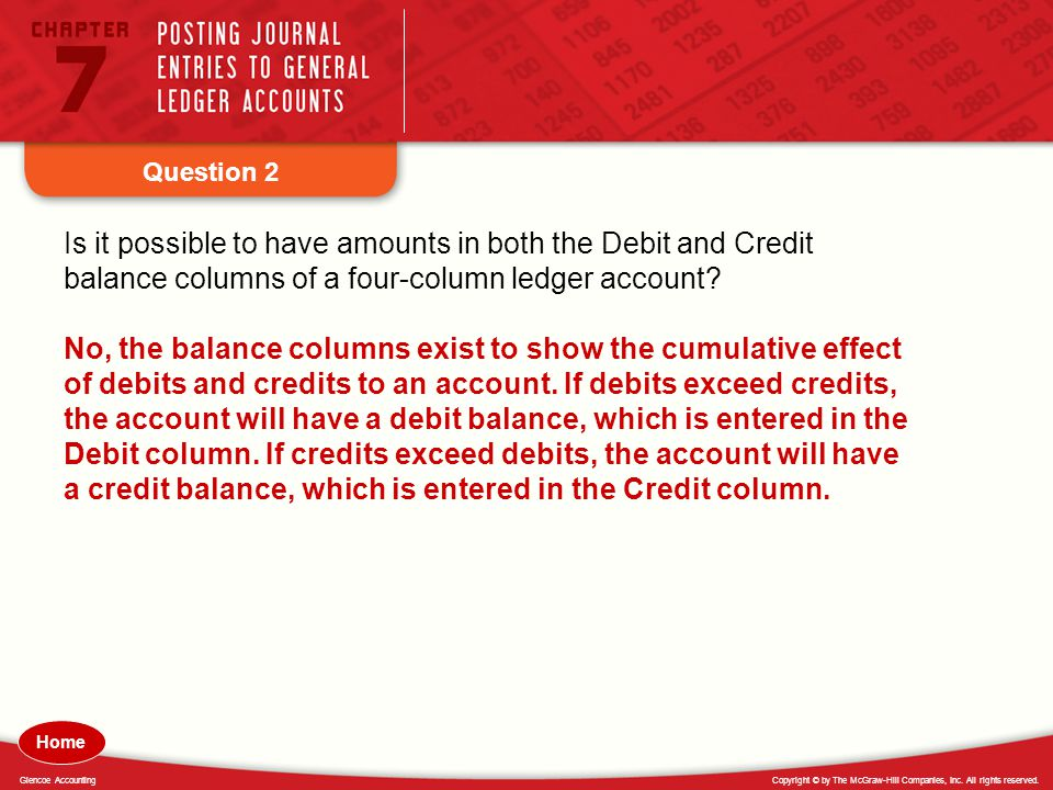 Question 2 Is it possible to have amounts in both the Debit and Credit balance columns of a four-column ledger account