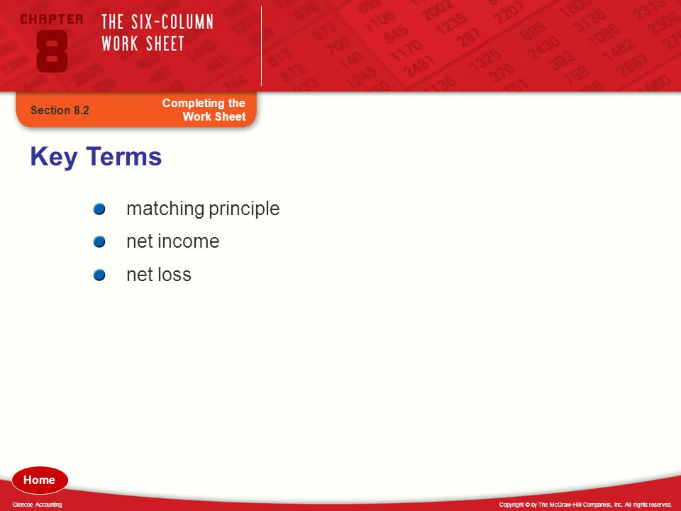 Key Terms matching principle net income net loss