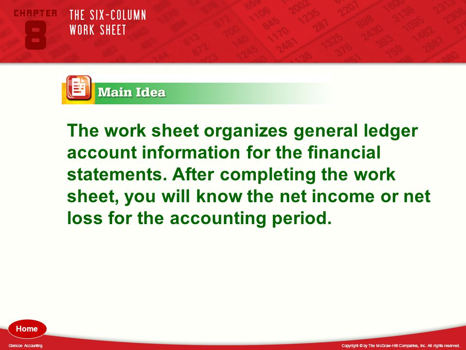 The work sheet organizes general ledger account information for the financial statements. After completing the work sheet, you will know the net income or net loss for the accounting period.