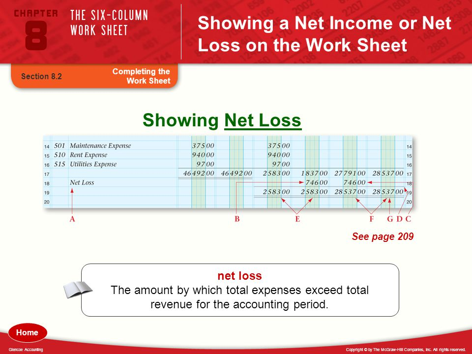 Showing a Net Income or Net Loss on the Work Sheet