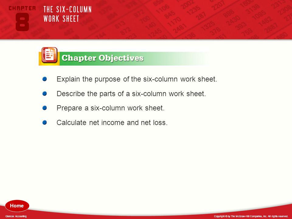 Explain the purpose of the six-column work sheet.