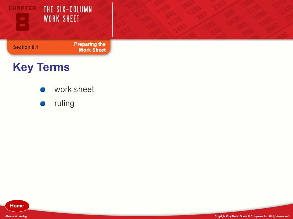 Key Terms work sheet ruling Preparing the Work Sheet Section 8.1 Home