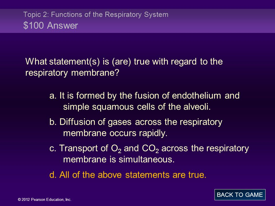 Topic 2: Functions of the Respiratory System $100 Answer