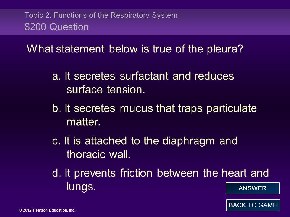 Topic 2: Functions of the Respiratory System $200 Question