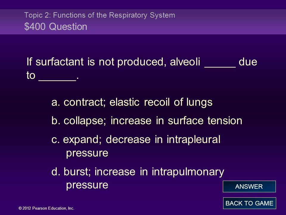 Topic 2: Functions of the Respiratory System $400 Question