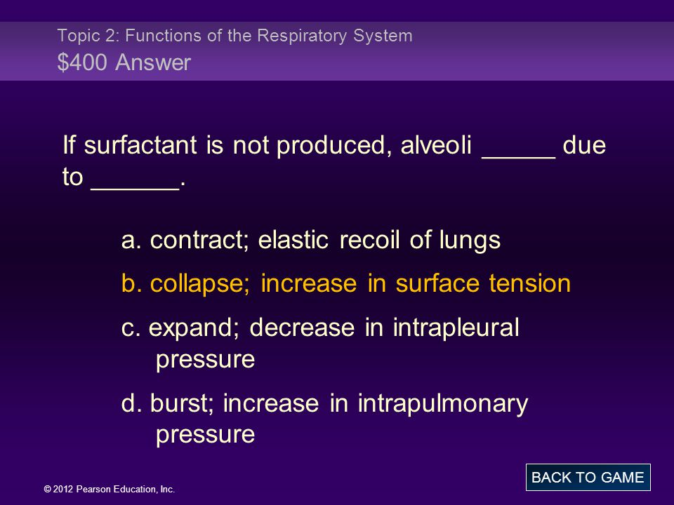 Topic 2: Functions of the Respiratory System $400 Answer