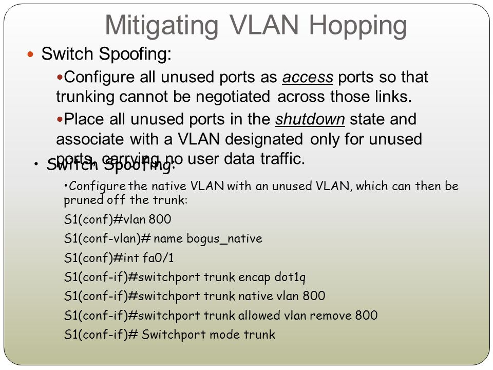 Mitigating VLAN Hopping