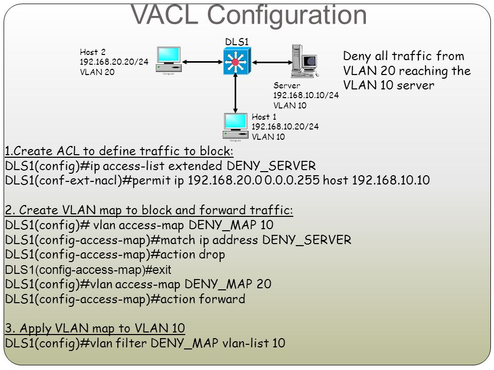 VACL Configuration DLS1. Host 2. 192.168.20.20/24. VLAN 20. Deny all traffic from VLAN 20 reaching the VLAN 10 server.