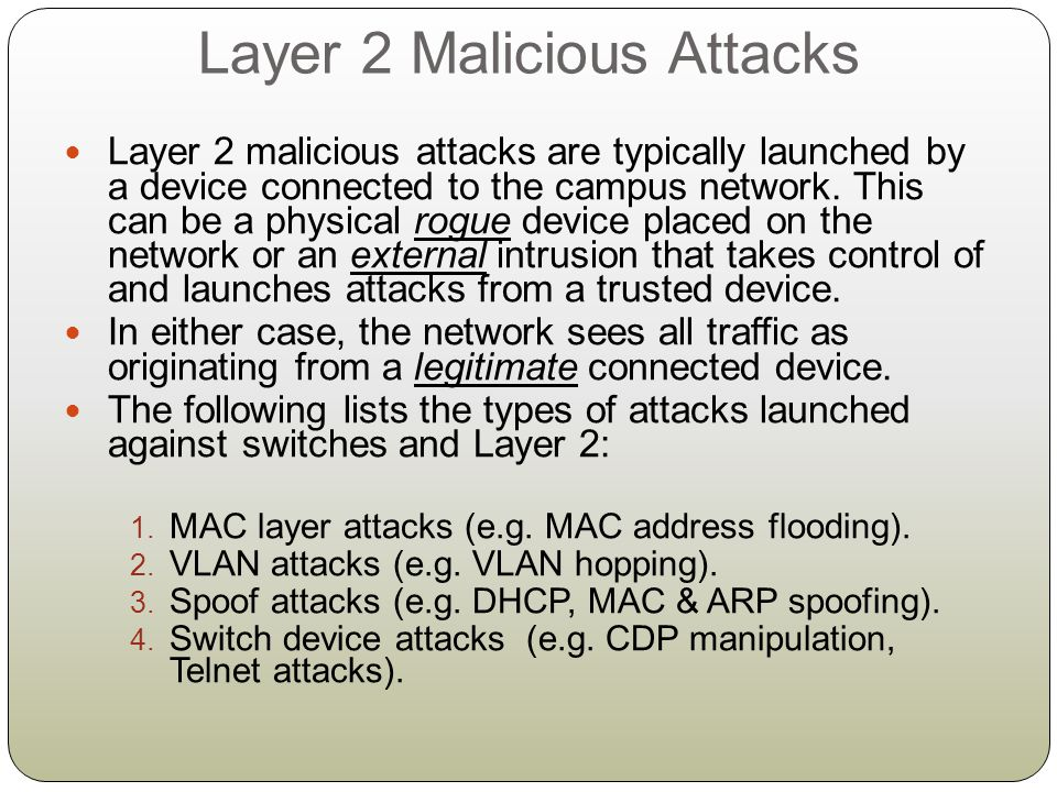 Layer 2 Malicious Attacks