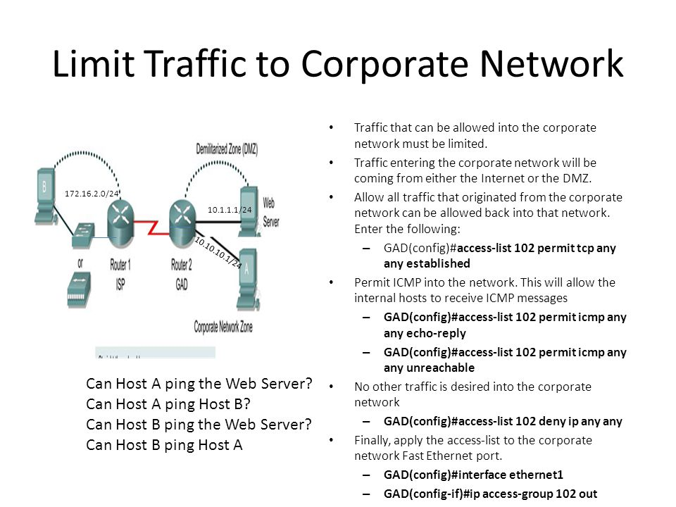 Limit Traffic to Corporate Network