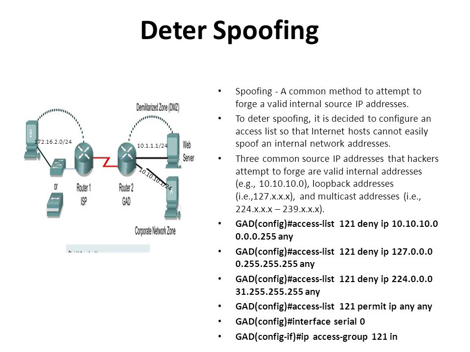 Deter Spoofing Spoofing - A common method to attempt to forge a valid internal source IP addresses.