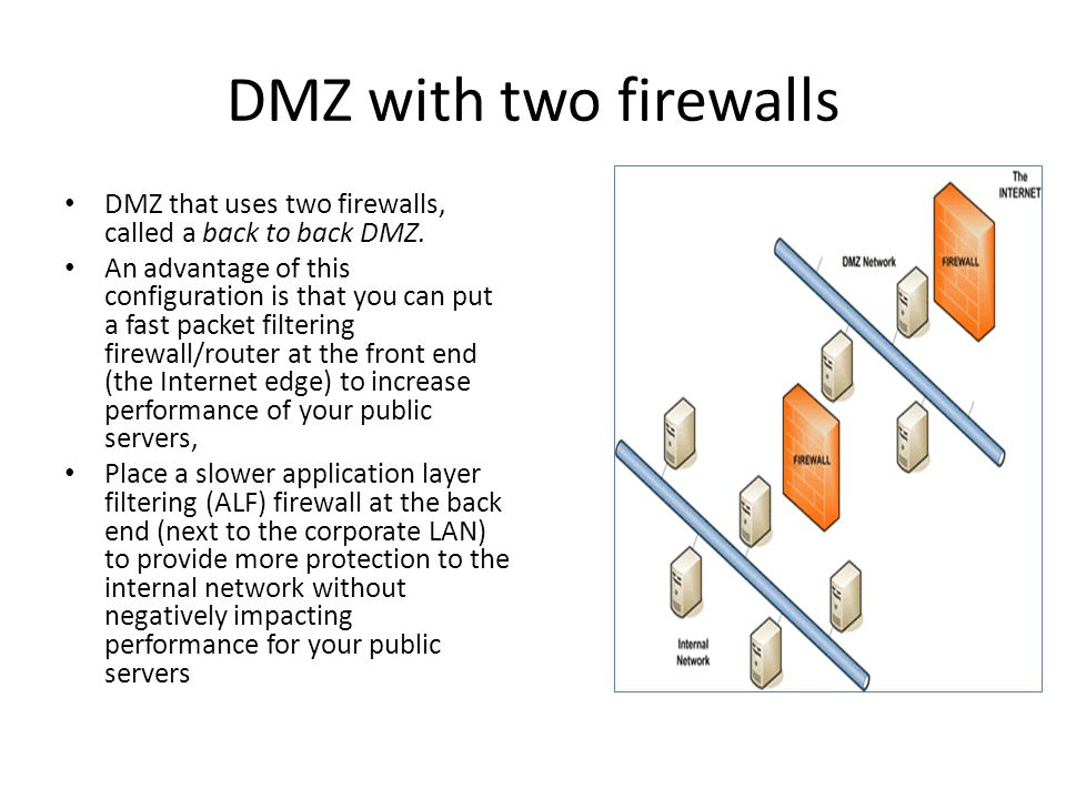 DMZ with two firewalls DMZ that uses two firewalls, called a back to back DMZ.