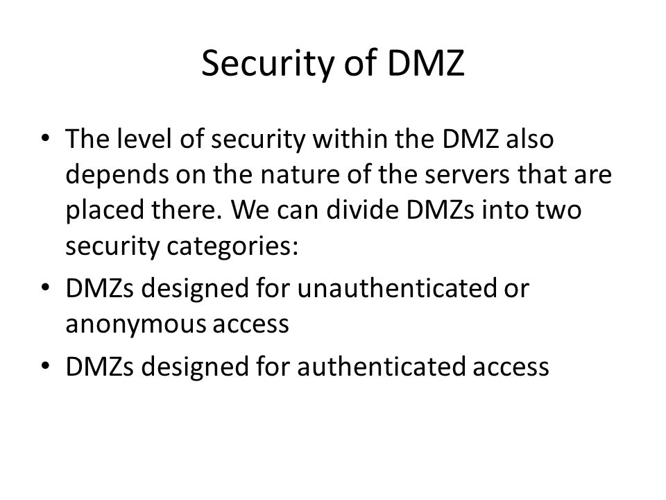 Security of DMZ
