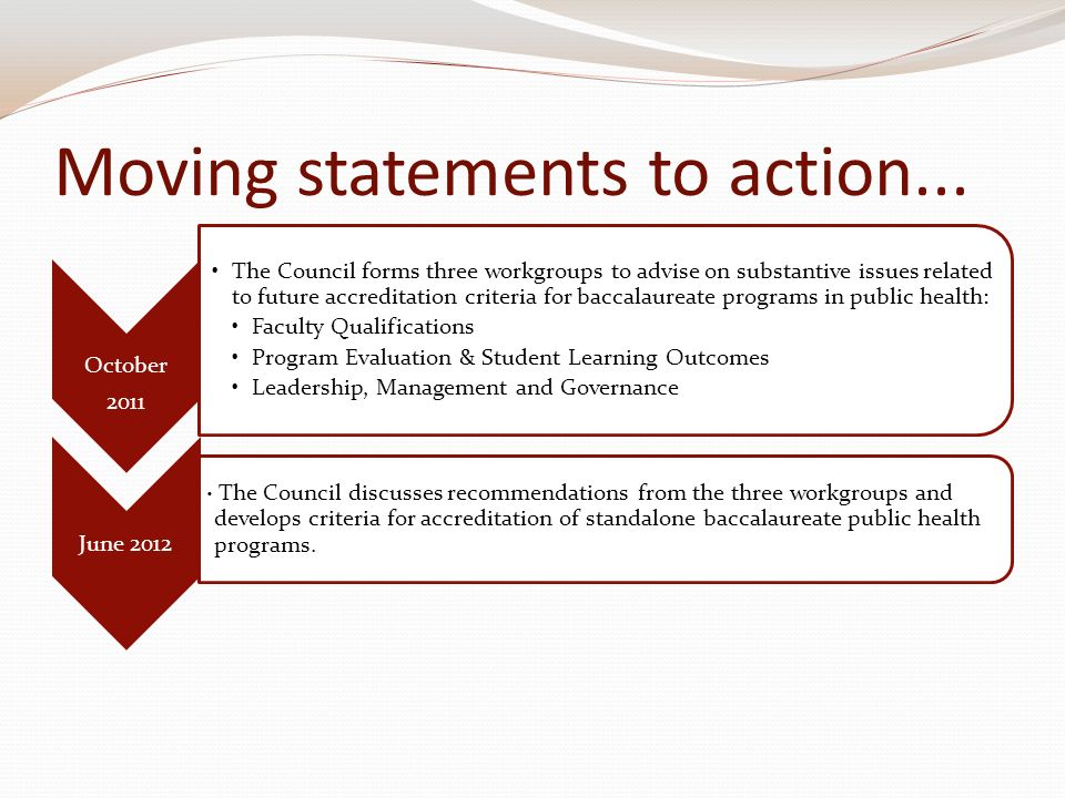 Moving statements to action...