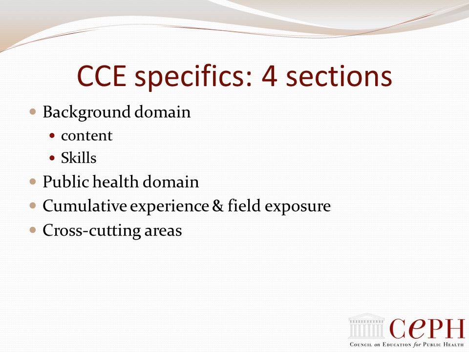 CCE specifics: 4 sections