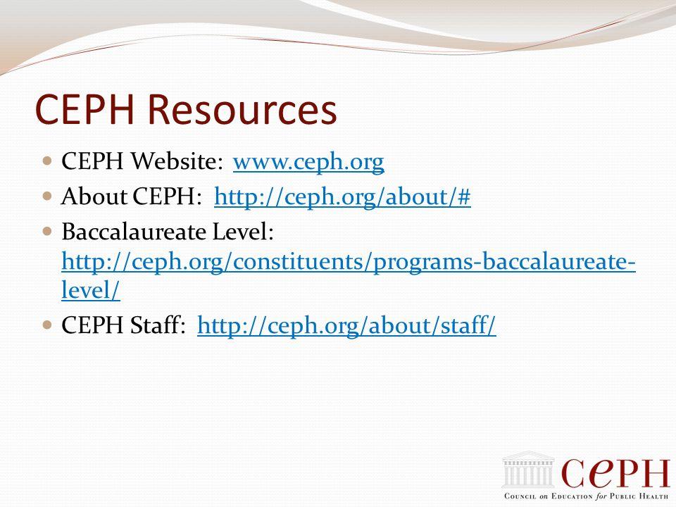 CEPH Resources CEPH Website: www.ceph.org