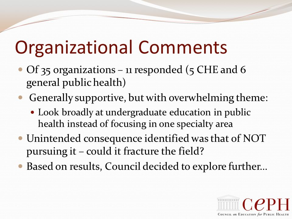 Organizational Comments