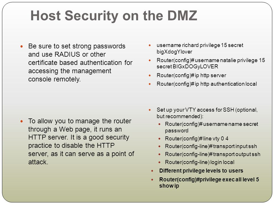 Host Security on the DMZ