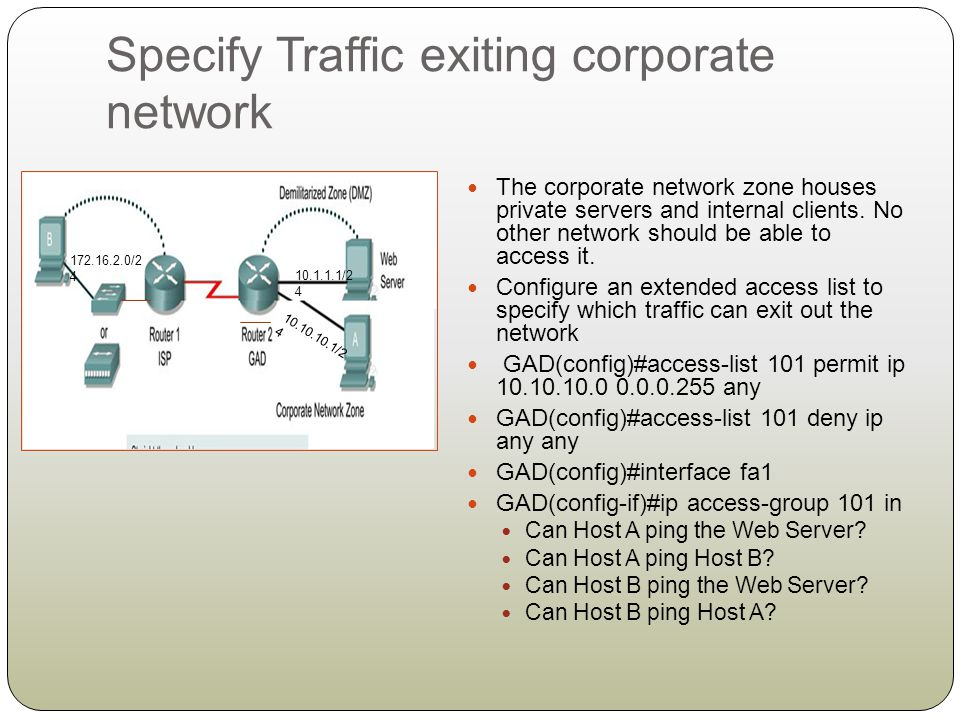 Specify Traffic exiting corporate network