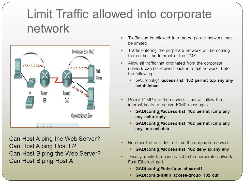 Limit Traffic allowed into corporate network
