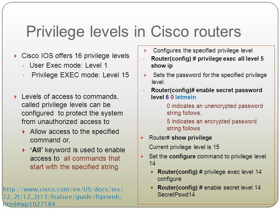 Privilege levels in Cisco routers