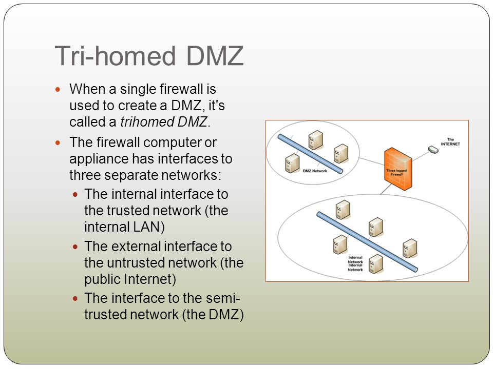 Tri-homed DMZ When a single firewall is used to create a DMZ, it s called a trihomed DMZ.