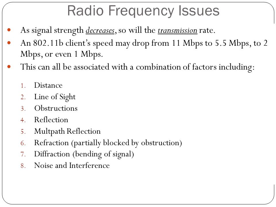 Radio Frequency Issues