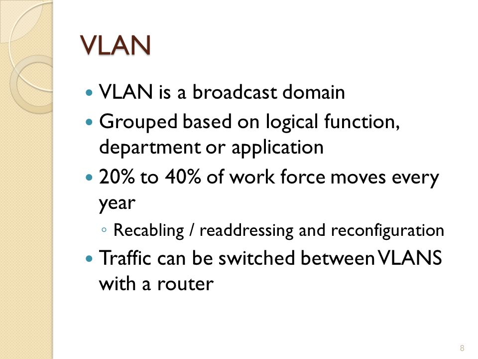 VLAN VLAN is a broadcast domain