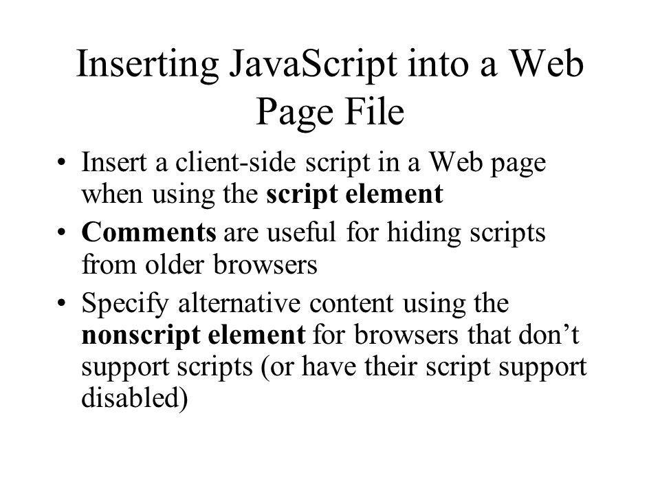 Inserting JavaScript into a Web Page File