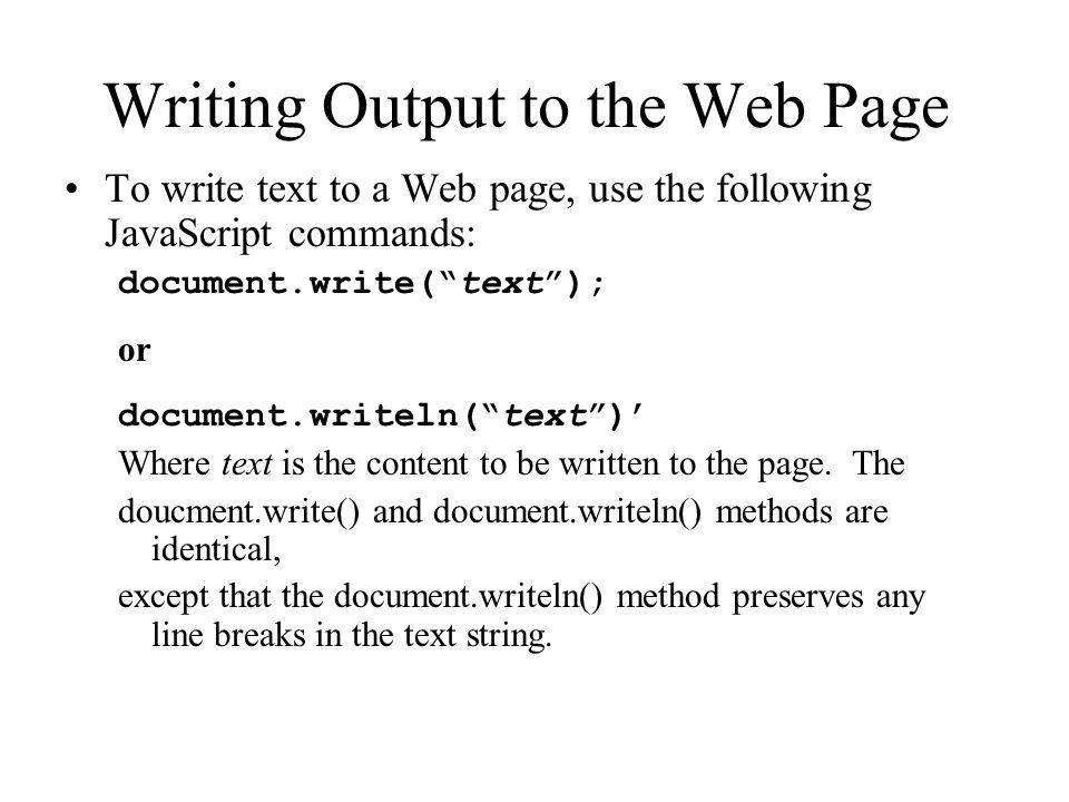 Writing Output to the Web Page