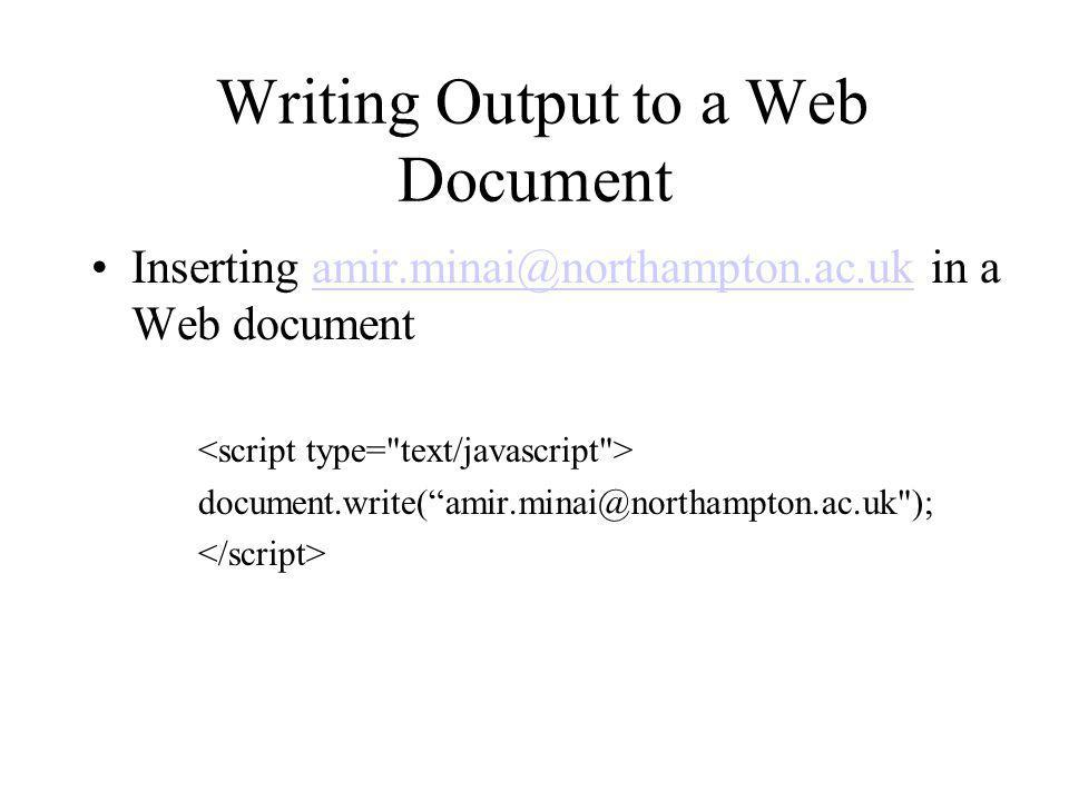 Writing Output to a Web Document
