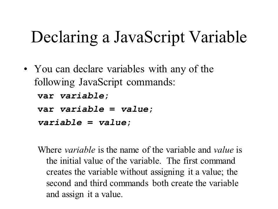Declaring a JavaScript Variable