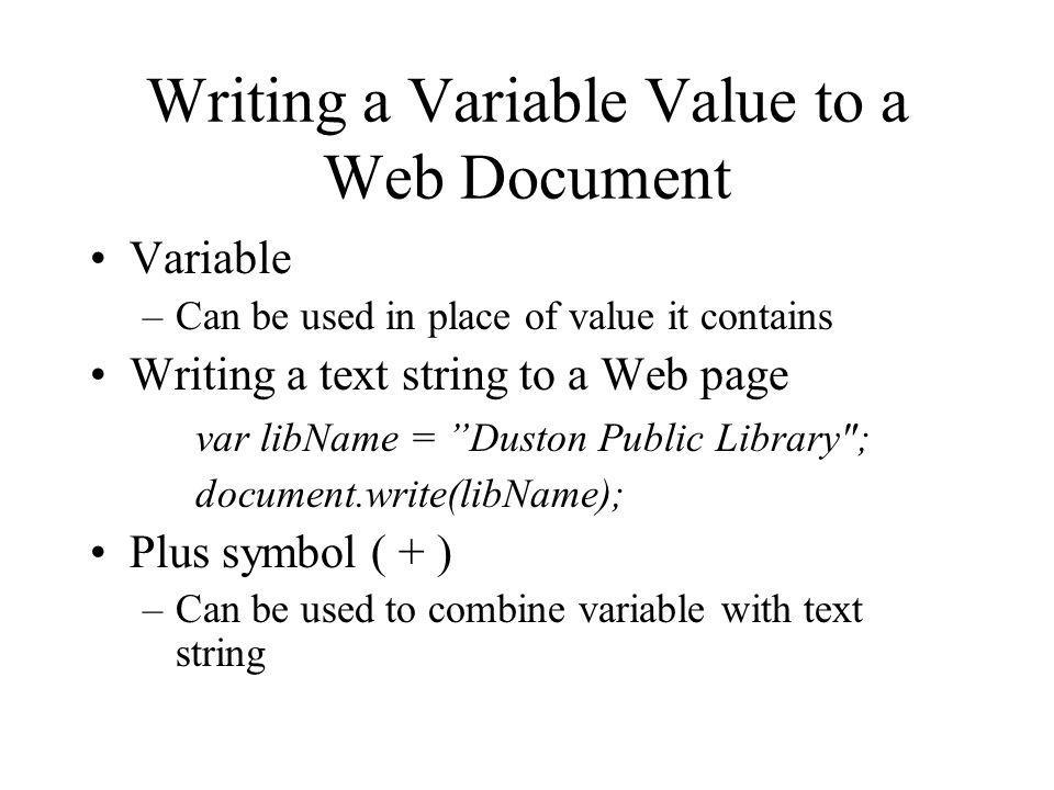 Writing a Variable Value to a Web Document